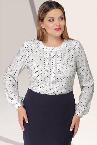 блуза Lenata 11922 белая-в-синий-горох