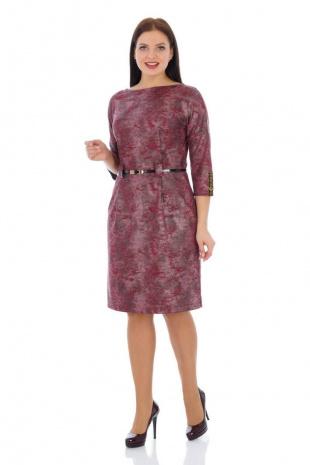 Платье с ремнем Effect-Style 693 бордовый