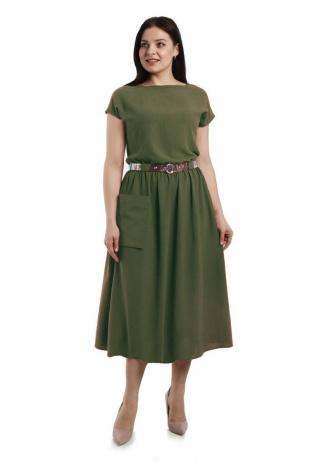 Платье с ремнем Effect-Style 698 хаки
