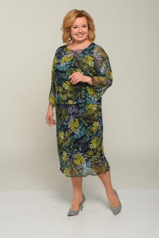 Плательный комплект Lady Style Classic 1640 т.синий+салат.листья